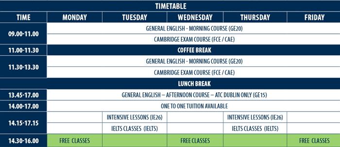 ATC 더블린 수업시간표
