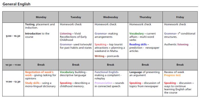 일반영어과정 수업 시간표
